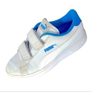 Puma White and Blue Faux Leather Velcro Closure Non Marking Sneakers Youth 13